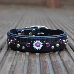 Crazy Daisy leather collar with purple Daisies and Violet rhinestones